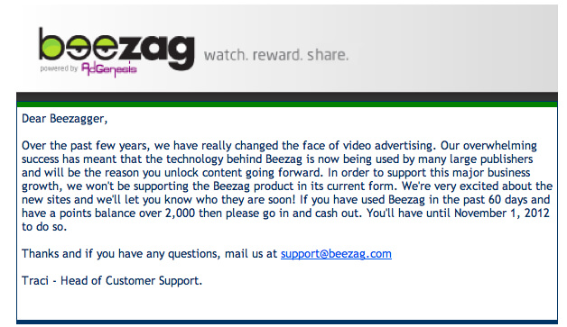 Beezag Closed Email