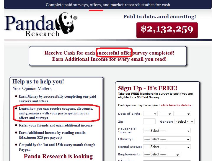 panda research sign-up