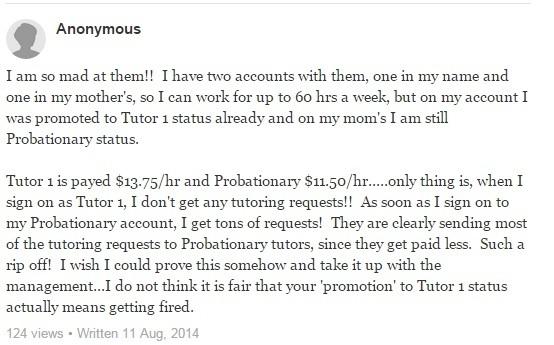 tutor.com review - a complaint about low pay