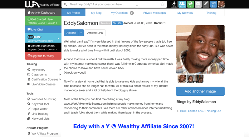 Eddy with a y at Wealthy Affiliate