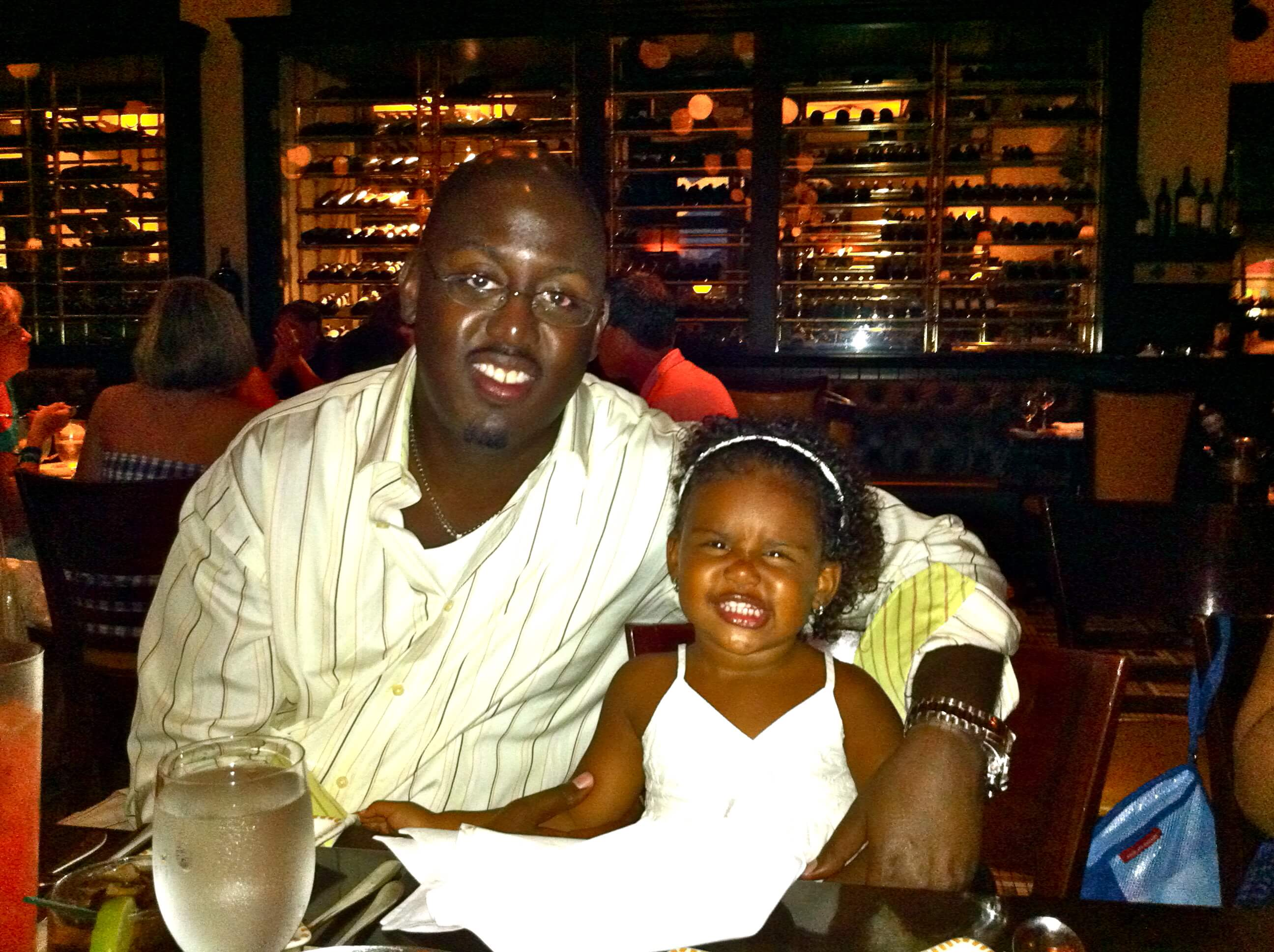 Eddy & Bee at a steak dinner in the bahamas.